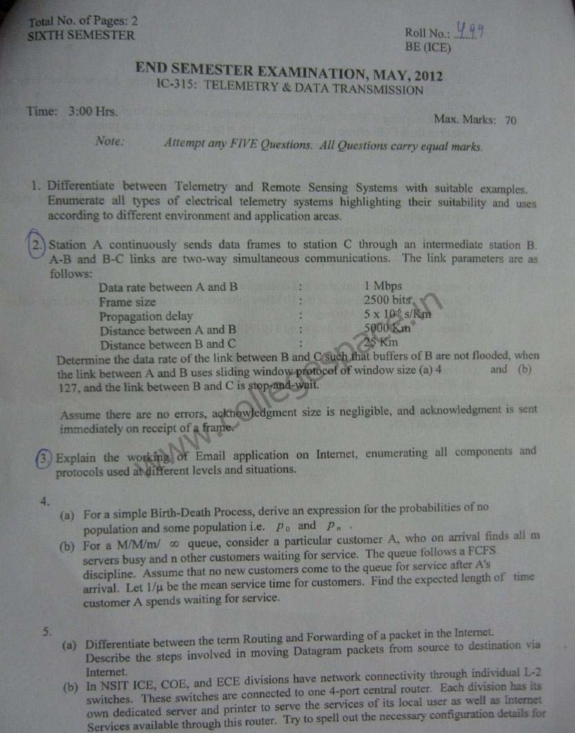 NSIT Question Papers 2012 – 6 Semester - End Sem - IC-315