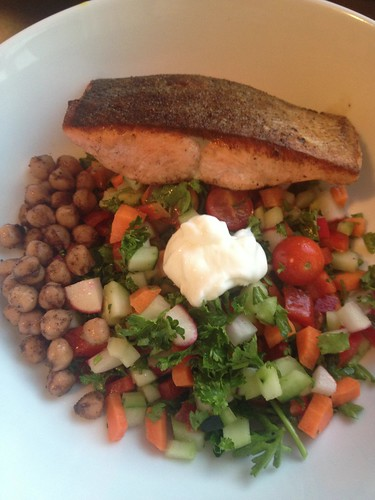 Chopped salad, spiced chickpeas and salmon