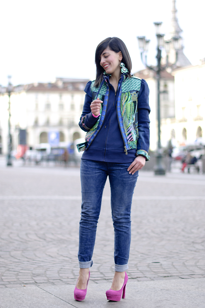 When denim meets green and pink