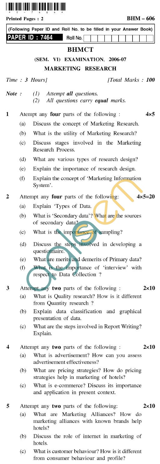 UPTU BHMCT Question Papers -BHM-606-Marketing Research