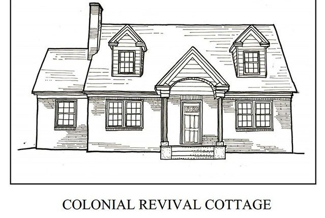 Colonial Revival Cottage, coloring book page, Roanoke