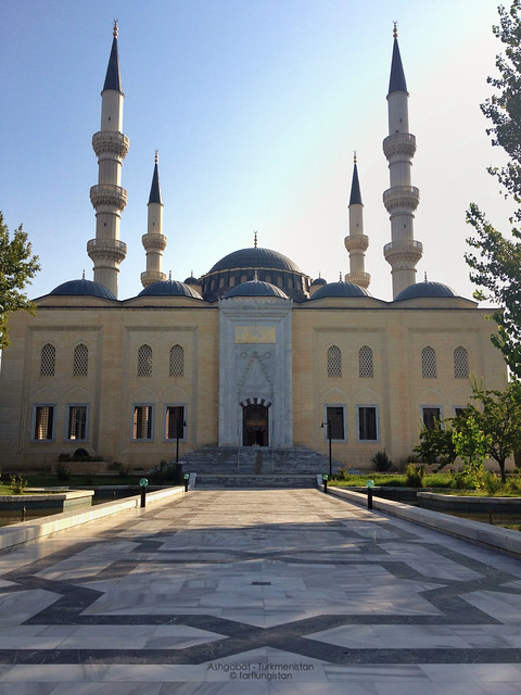 The Entry Courtyard to the The Ertugrul Gazi Mosque in Ashgabat