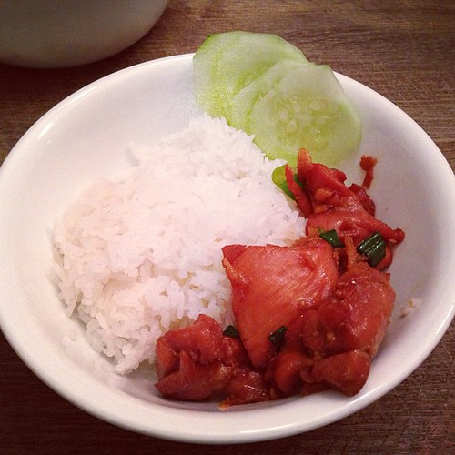 Caramel Ginger Chicken with cucumbers