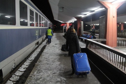 Leaving the train at Brasov station