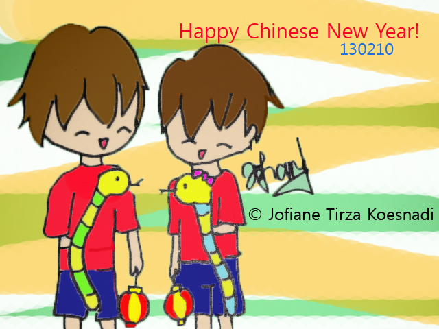 Happy Chinese New Year! 130210 , snake year - fanart by jofiane