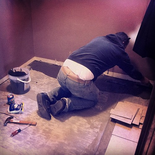 """Translated in Germany to mean """"builder's/mansoner's cleavage."""" In other news, the laundry floor is being finished today! #yay! #plumbersbutt #babygotback #truestory"""