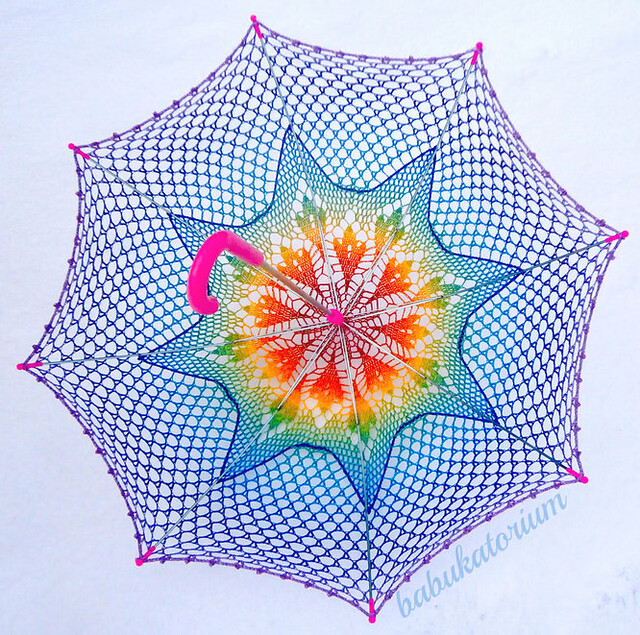 Crochet Umbrella - Rainbow Ombre Leaves Doily Motif With Star Crochet Embroidery