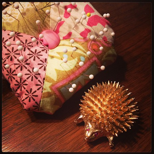 Feb 22 - favorite pin {my little hedgehog beside a 'pin cushion' made by my daughter}
