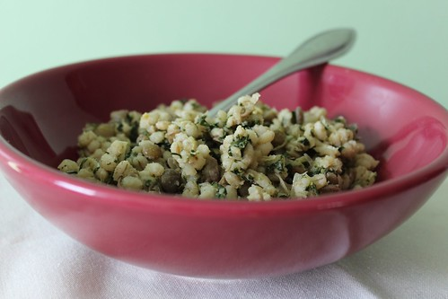 barley mujaddara with spinach