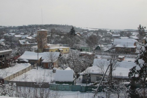 Looking over the Ukrainian village of Borova