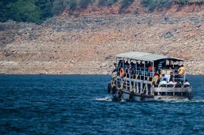 the ferry to Nagarjunakonda in nagarjuna sagar
