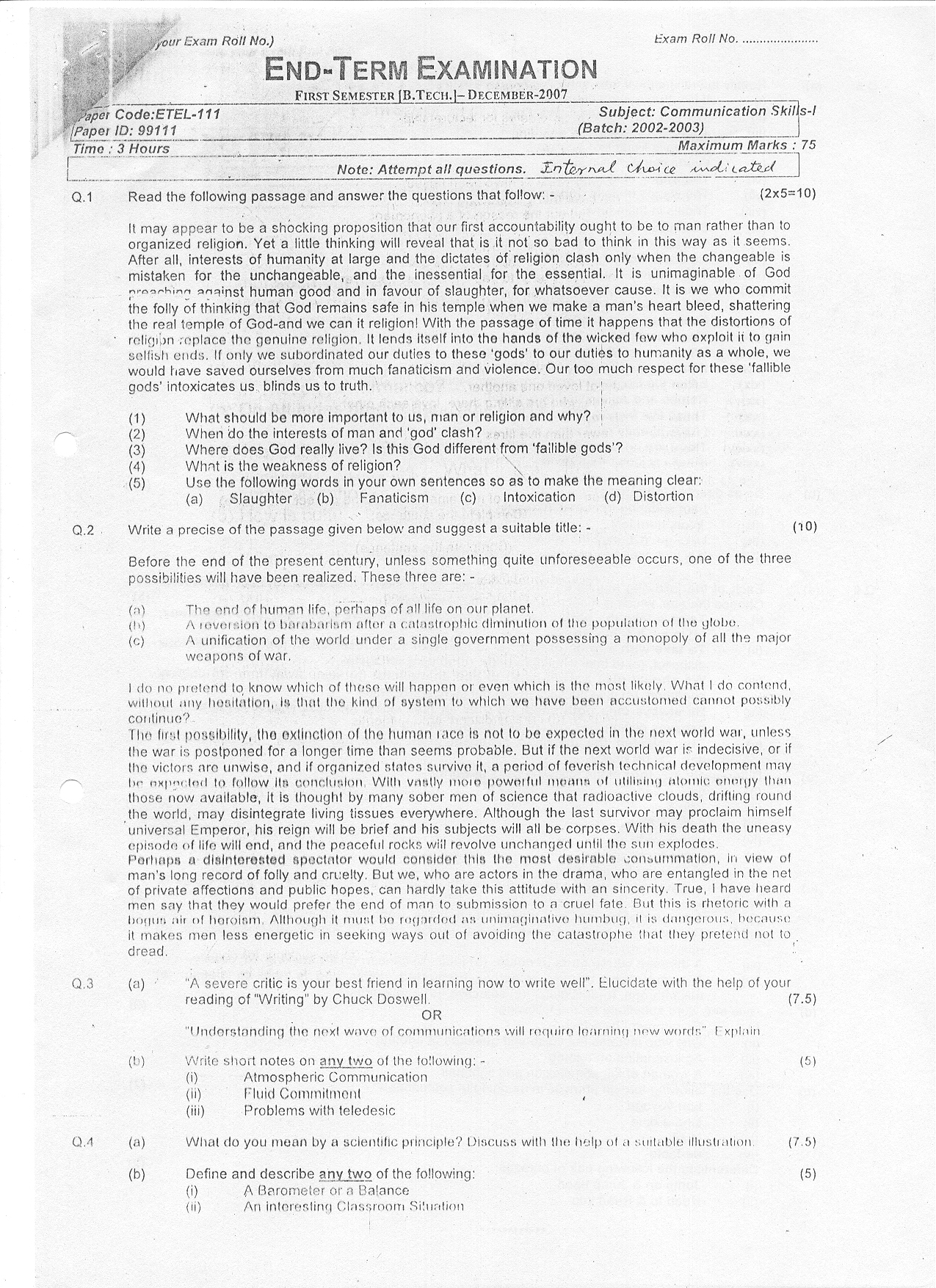 GGSIPU: Question Papers First Semester – end Term 2007 – ETEL-111