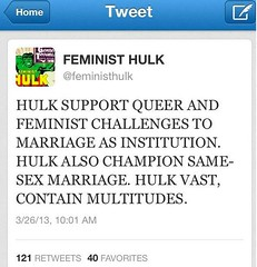 I am not Feminist Hulk. I only put it here to link to a blog post!