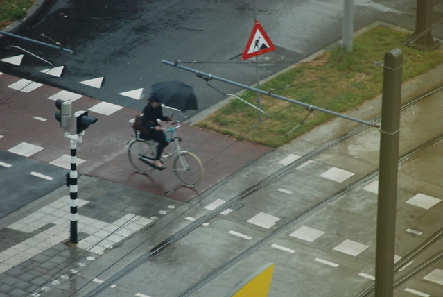 Umbrella cycling in the Netherlands