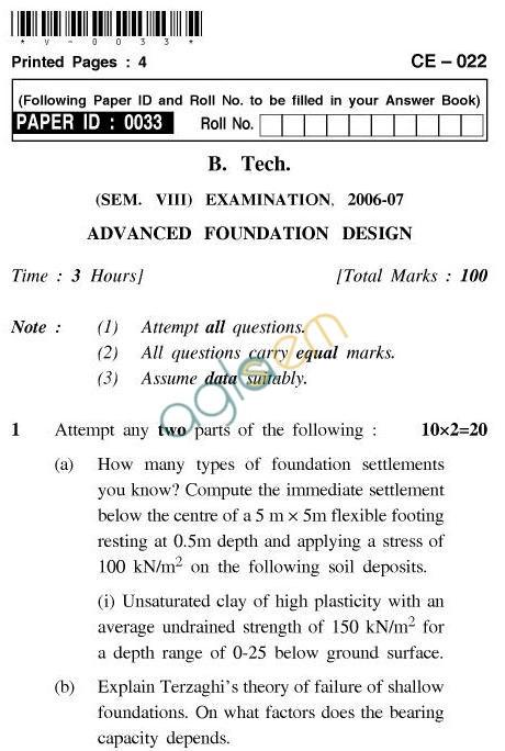 UPTU B.Tech Question Papers - CE-022-Advanced Foundation Design