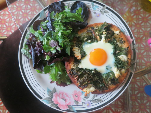 Stinging nettle pesto, kale, feta and free range egg pizza