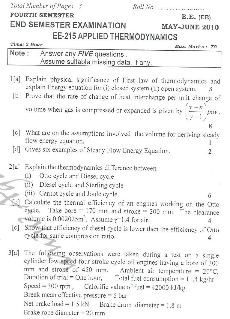 DTU Question Papers 2010 – 4 Semester - End Sem - EE-215
