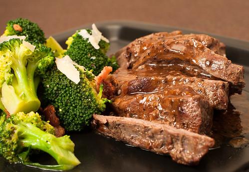 Steak with Broccoli Salad