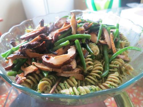 Shiitake and green bean parsley pesto rotini