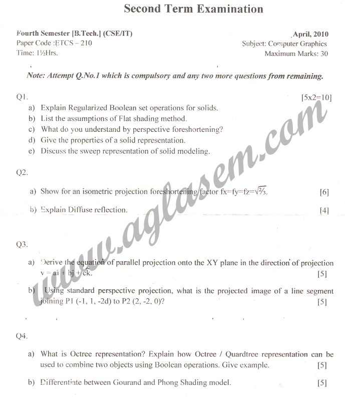 GGSIPU Question Papers Fourth Semester – Second Term 2010 – ETCS-210