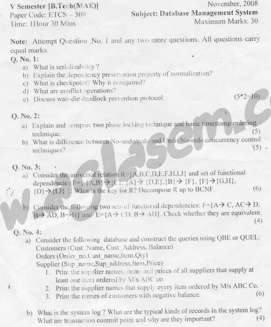 GGSIPU: Question Papers Fifth Semester