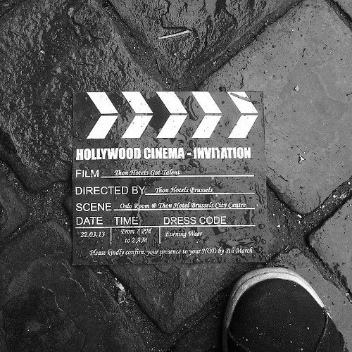 #hollywood invitation #vip #party #bw #brussels #pavement