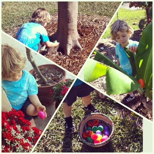 Egg hunt in the back yard!