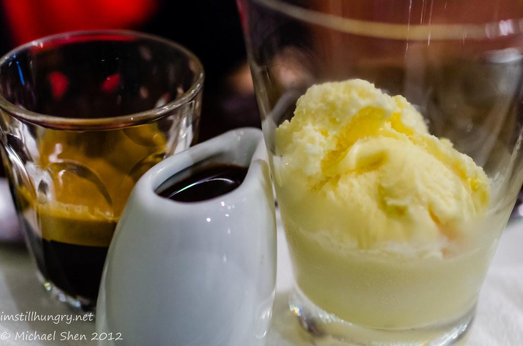 The Chocolate Room DIY affogato - vanilla ice cream, chocolate sauce w/short black
