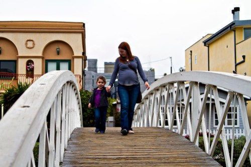 walking the bridge with mama
