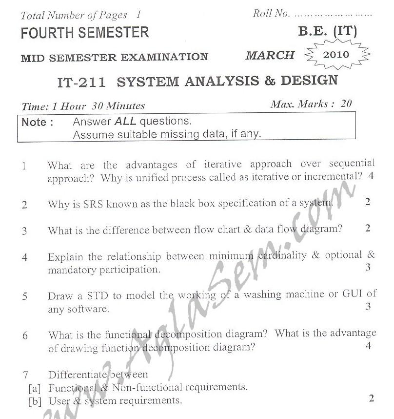 DTU Question Papers 2010 – 4 Semester - Mid Sem - IT-211