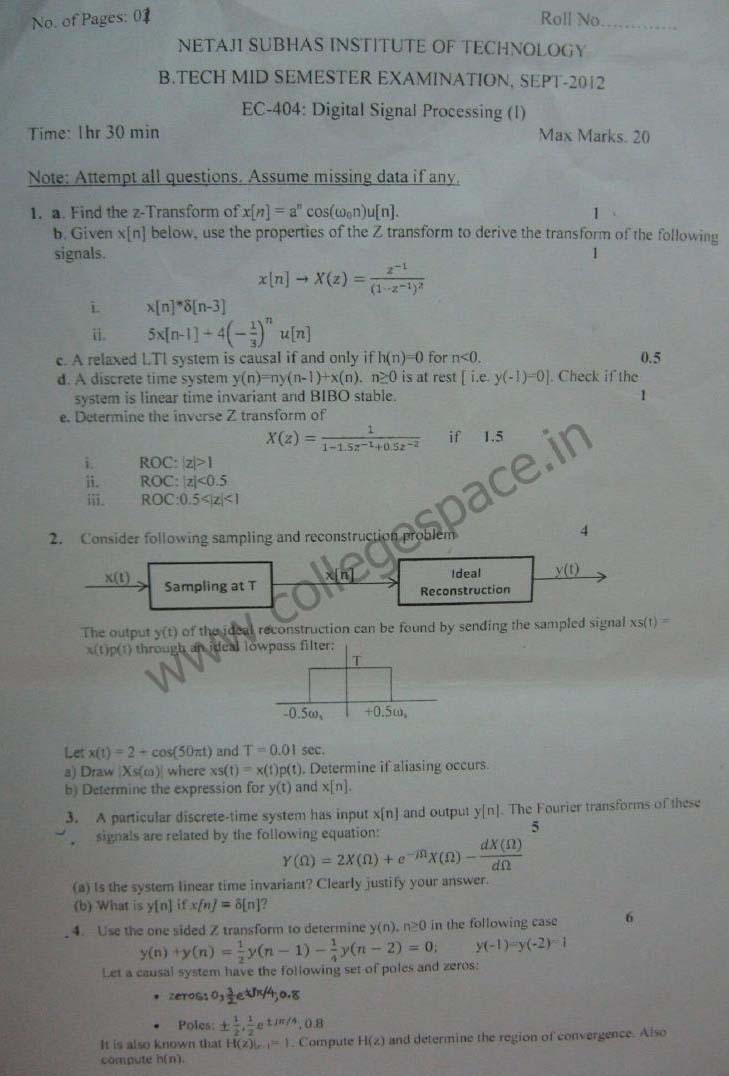 NSIT Question Papers 2012 – 7 Semester - Mid Sem - EC-404