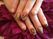 acrylic nails with gold glitter