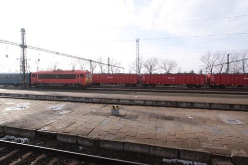 Stabled passenger and coal trains in the yard at Békéscsaba, Hungary