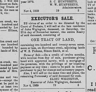 Wigington Executor Sale