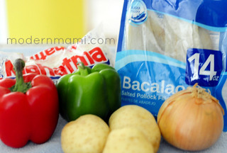 Ingredients for Bacalao en Salsa (Codfish Fricassee)