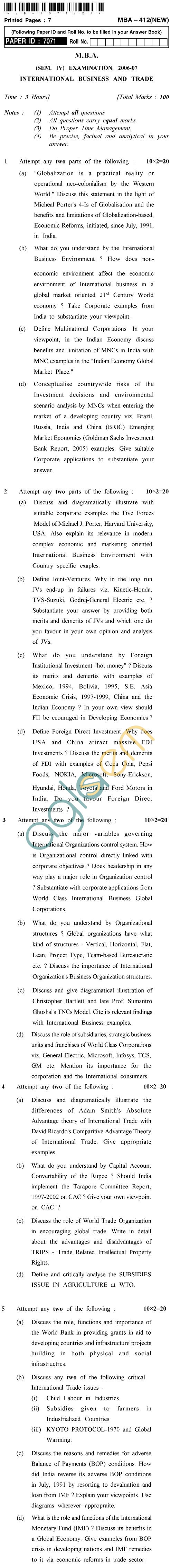 UPTU M.B.A. Question Papers - MBA-412 (New)-International Business and Trade