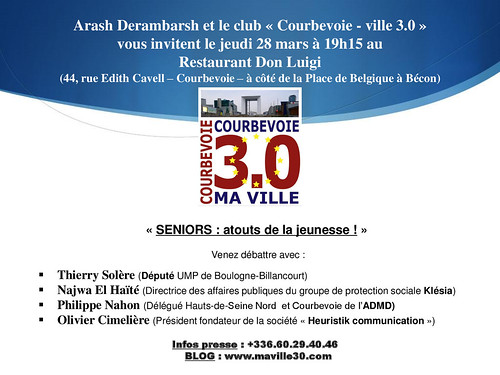 "Réunion ""Courbevoie 3.0"" jeudi 28 mars - ""SENIORS : atouts de la jeunesse"" by Arash Derambarsh"