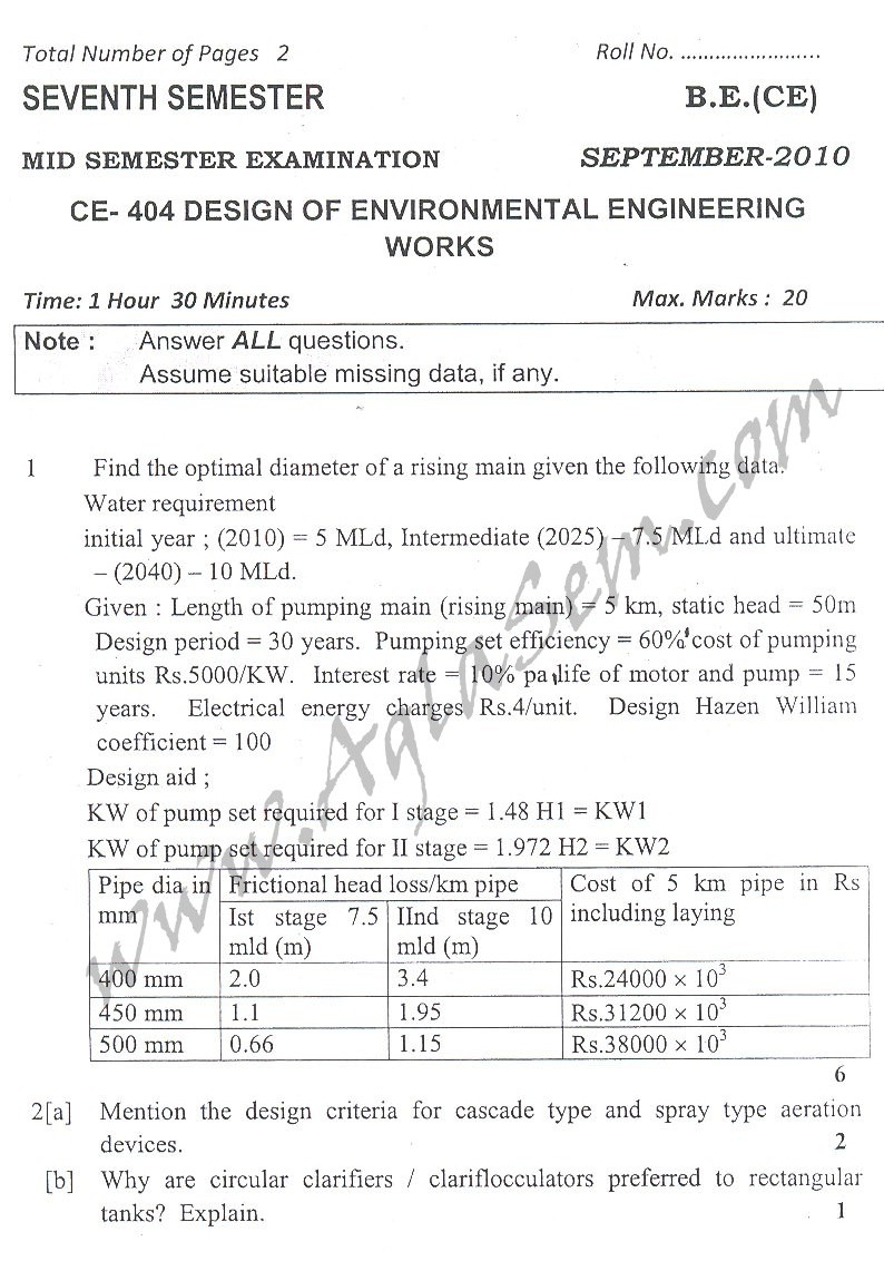 DTU Question Papers 2010 – 7 Semester - Mid Sem - CE-404