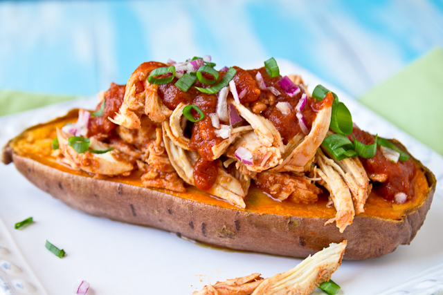 BBQ Pulled Chicken Stuffed Baked Sweet Potato