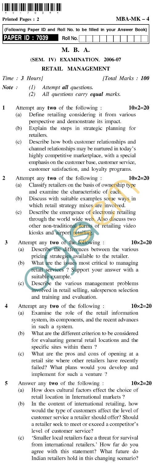 UPTU MBA Question Papers - MBA-MK-4-Retail Management