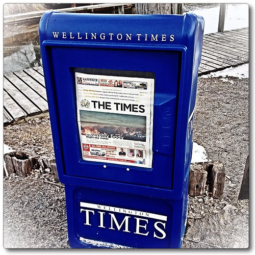 Mar 25 - 'w' {the WELLINGTON Times; one of our three local papers}