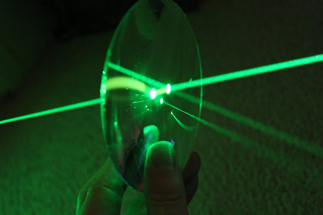 Green laser reflection and refraction 1  Flickr  Photo