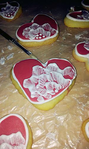 Brush embroidery sugar cookies