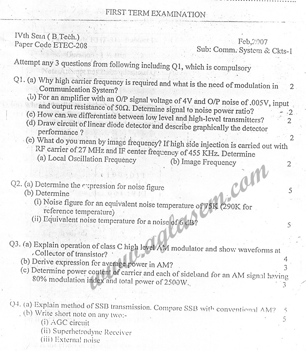 GGSIPU: Question Papers Fourth Semester
