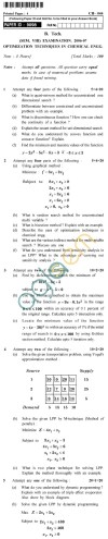 UPTU B.Tech Question Papers -CH-044 - Optimization Techniques in Chemical Engineering