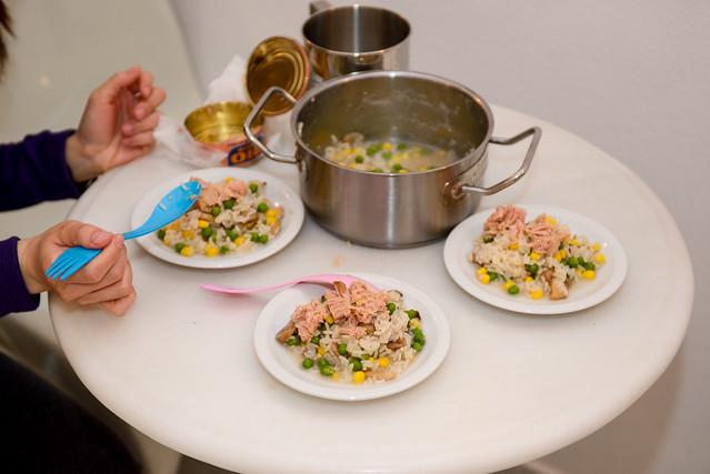 晚餐 - 玉米、豆、稀飯