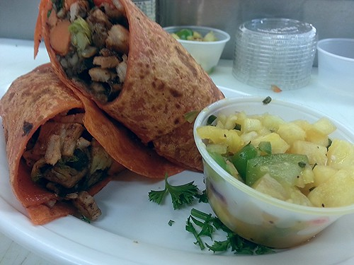 Jamaican jerk pork, sweet potato and brussel sprouts burrito by pipsyq