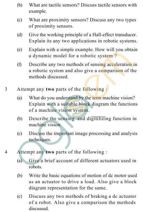 UPTU B.Tech Question Papers -IC-022- Analysis Robotics & Mechatronics