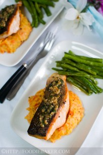 Pan fried salmon with lemon butter capers sauce for Lemon butter caper sauce for fish