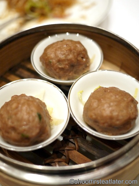 Red Lantern @ Solaire- beef balls with crunchy green vegetables